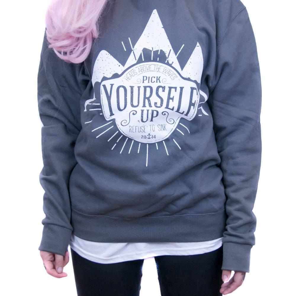Grey Pick Yourself Up Crewneck Sweatshirt