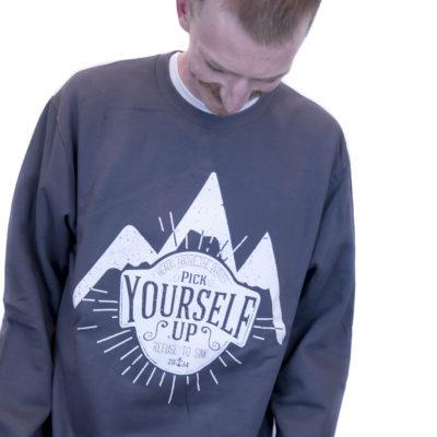 Grey Pick Yourself Up Crewneck Sweater
