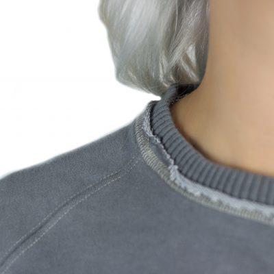 Shades of Grey Waves Sweatshirt Collar Detail