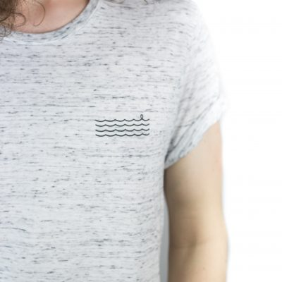 White Marble Waves Tee Detail